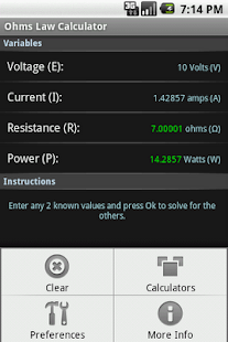 Ohm's Law Calculator - screenshot thumbnail
