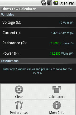 Ohm's Law Calculator - screenshot