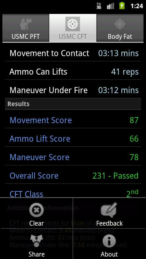 USMC PFT & CFT Calculator- screenshot