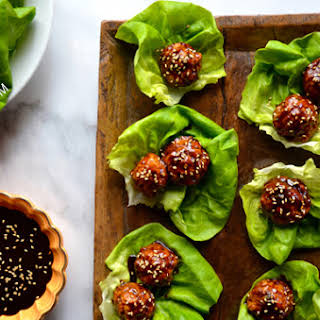 Baked Asian Chicken Meatball Lettuce Wraps.