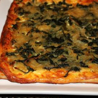 Mustard Greens Tart with Caramelized Onions and Gruyere
