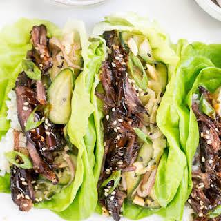 Slow Cooker Korean Beef Short Rib Lettuce Wraps.