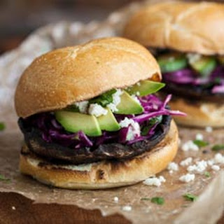 Grilled Portabello Chili Burger with Simple Slaw