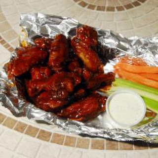 Sticky honey BBQ chicken wings.