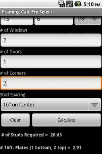 Wall Framing Calc Pro Select- screenshot thumbnail