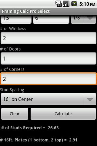 Wall Framing Calc Pro Select- screenshot