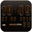 Digi Clock Widget Brown Star