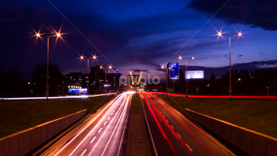 Light on twilight by Oliver Švob - City,  Street & Park  Night ( canon, traffic, sunset, street, twilight, zagreb, vehicles, light, dusk, city, , the mood factory, mood, lighting, sassy, pink, colored, colorful, scenic, artificial, lights, scents, senses, hot pink, confident, fun, mood factory , creativity, art, artistic, purple, mood factory, color )