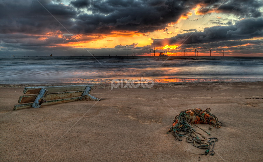 Redcar Sunrise by Joe Kirby - Landscapes Beaches ( uk, wind farms, redcar, sunrise, beach, coastal, coast )