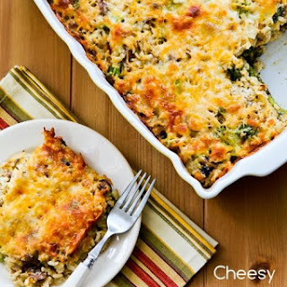 Cheesy Vegetarian Brown Rice Casserole with Broccoli and Mushrooms.