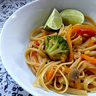 Veggies and Noodles with Thai Coconut Curry Sauce {aka Kate's Noodles & Company Bangkok Curry Semi-Knockoff}.