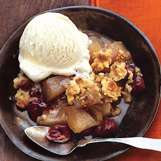 Pear and Dried-Cherry Crisp with Nutmeg-Walnut Streusel.