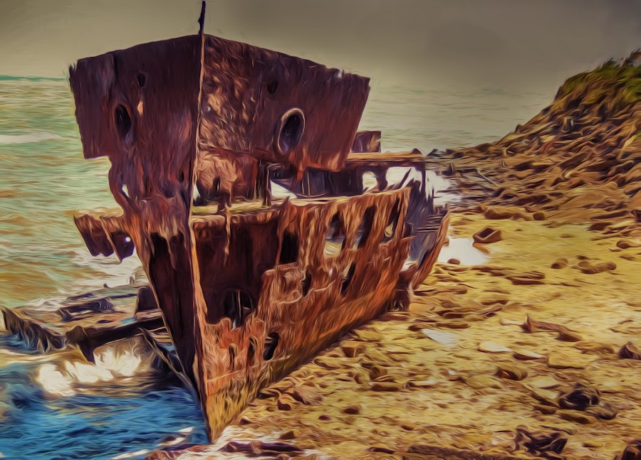 Ghost Ship by Alex Bogdan - Digital Art Things ( abstract, water, sand, patterns, shipwreck, spooky, sad, ship, mood, ghost, rust, rocks )