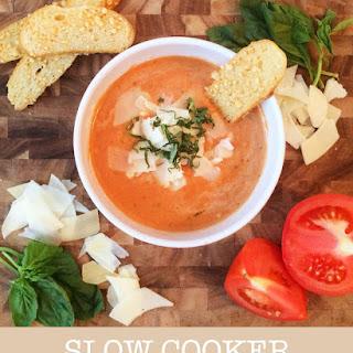 Slow Cooker Tomato Basil Parmesan Soup.