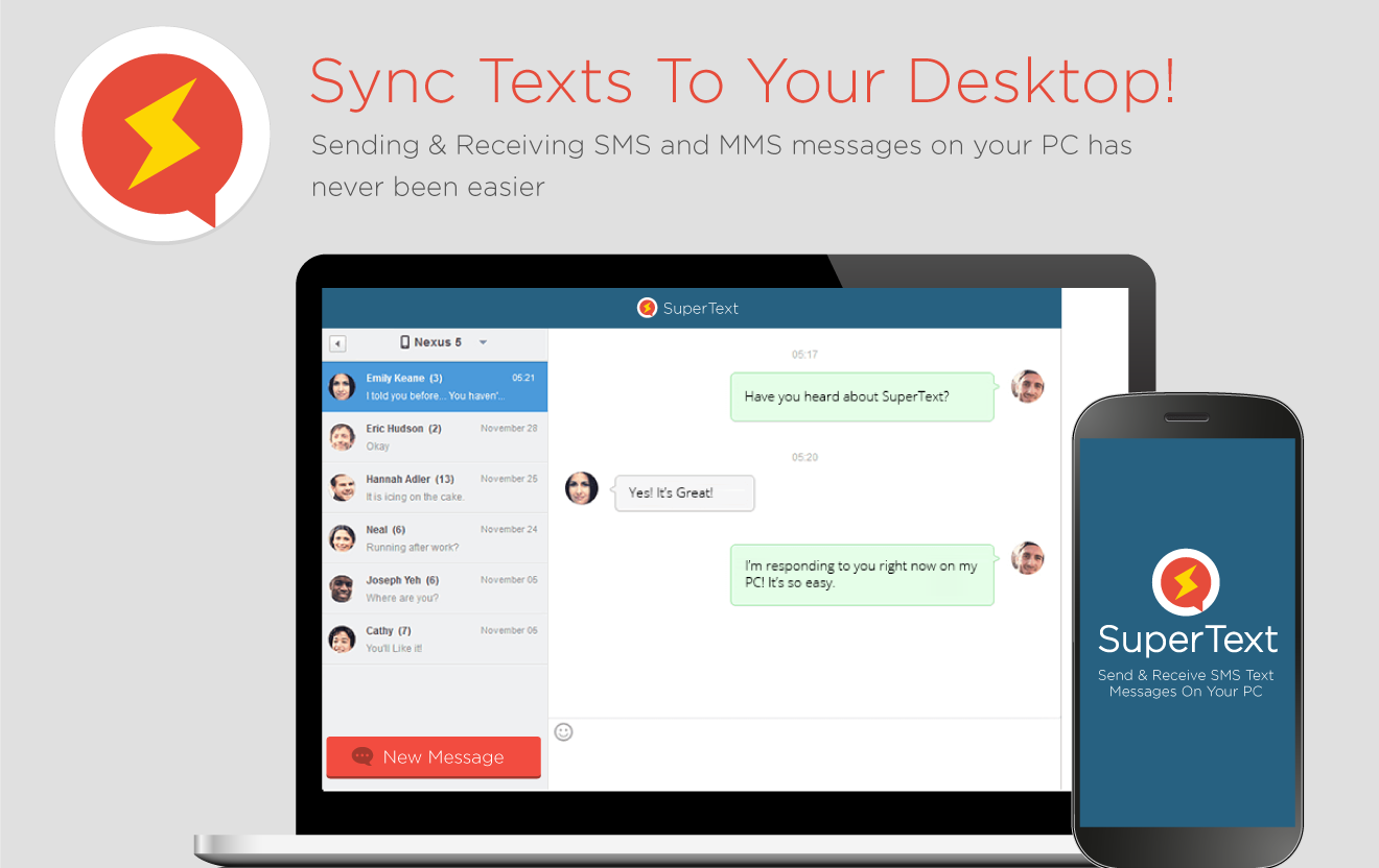 Messenger desktop application - Supertext Sms Text Messenger Screenshot