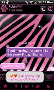GO SMS Pro Pink Zebra Theme 2 - screenshot thumbnail
