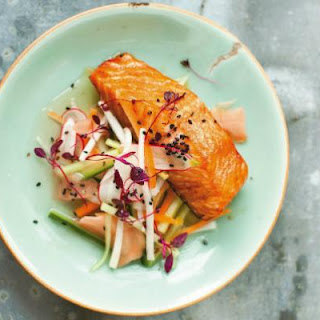 Teriyaki Salmon with Pickled Vegetables and Sesame Seeds