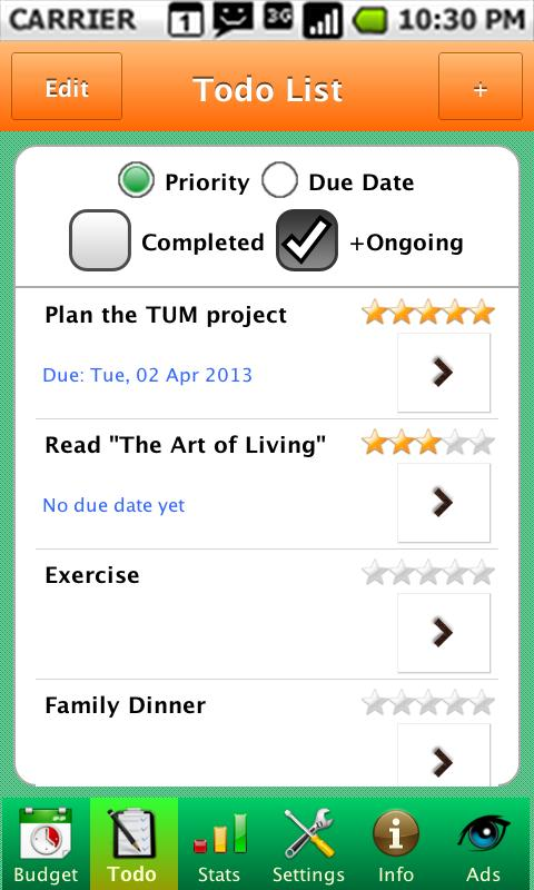 TUM Time Budget - Time Manager- screenshot