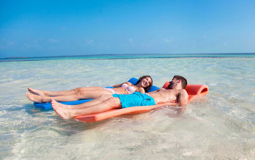 CocoCay-floating-mats-2 - Relax on a floating mat with your sweetie during a day trip to CocoCay in the Bahamas.