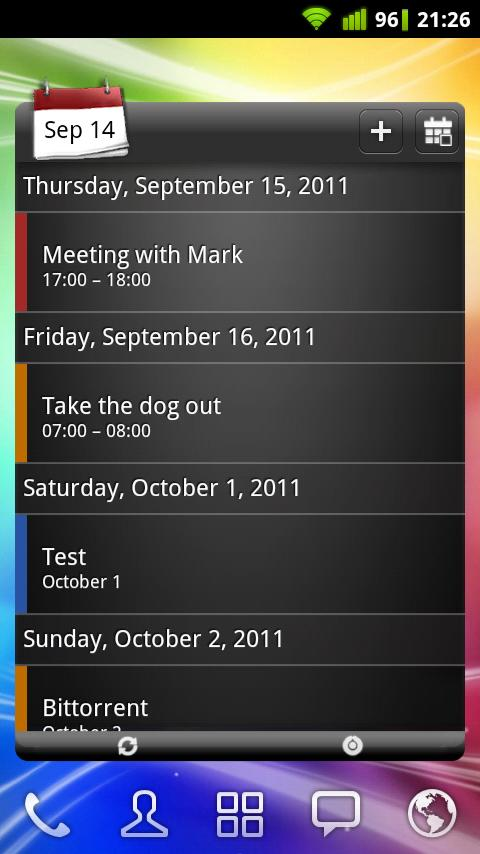 APW Widgets: captura de tela