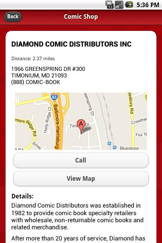 Comic Shop Locator - screenshot