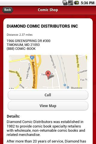 Comic Shop Locator - screenshot