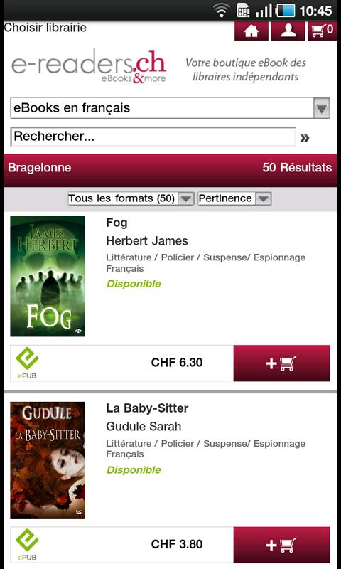 Ebook Readers e-readers.ch - screenshot