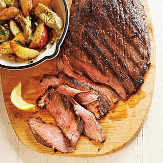 Seared Steak with Potato-Artichoke Hash.
