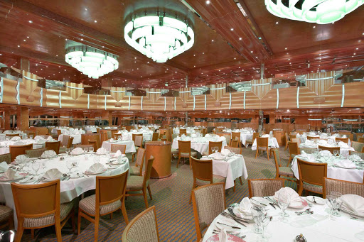 Carnival-Magic-Southern-Lights-Restaurant - The Southern Lights Restaurant, the larger of Carnival Magic's two main dining rooms,  offers a variety of appetizers and main courses.