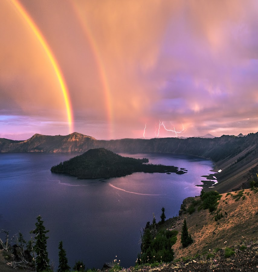by Jasman Mander - Uncategorized All Uncategorized ( thunder, oregon, pnw, caldera, lake, double, storm, nationalpark, crater, lightning, volcano, central, rainbow )
