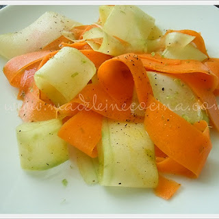 Cucumber and Carrot Strips.