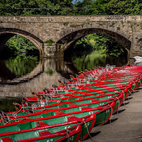 Rent Me! by Donna Brittain - Transportation Boats ( reflection, river nidd, cityscape, bridge, boat, landscape, rental, knaresborough. uk,  )