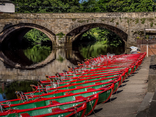 Rent Me! by Donna Brittain - Transportation Boats ( reflection, river nidd, cityscape, bridge, boat, landscape, rental, knaresborough. uk,  )