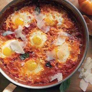 Skillet Eggs in Tomato Sauce.