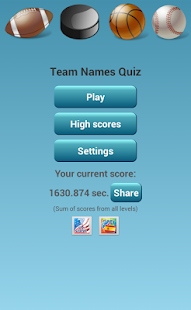NBA NFL NHL MLB Team Name Quiz - screenshot thumbnail