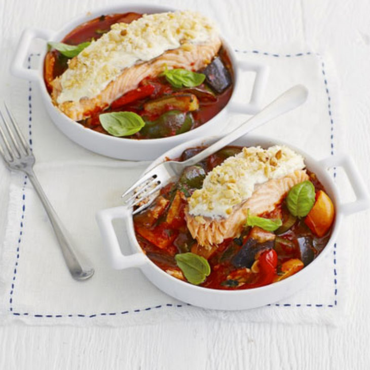 Creamy Salmon With Chunky Ratatouille