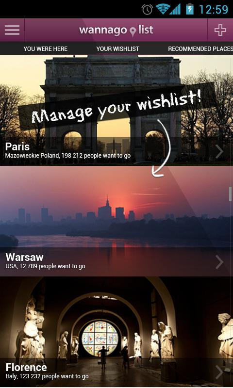 Travel WannaGoList - screenshot