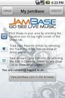 Screenshot of JamBase