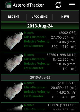 Asteroid Tracker - screenshot