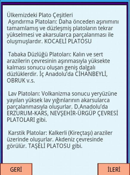 KPSS COĞRAFYA Plato ve Ovalar - screenshot