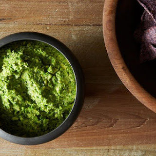 Smashed Pea Guacamole with Cilantro, Ginger and Lime.