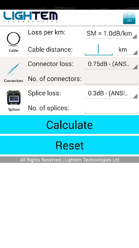Fiber Optics Loss Calculator