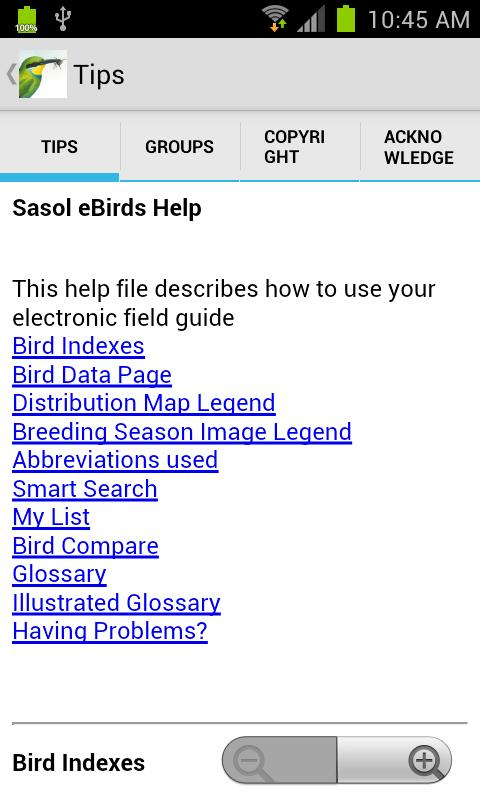 Sasol eBirds - screenshot