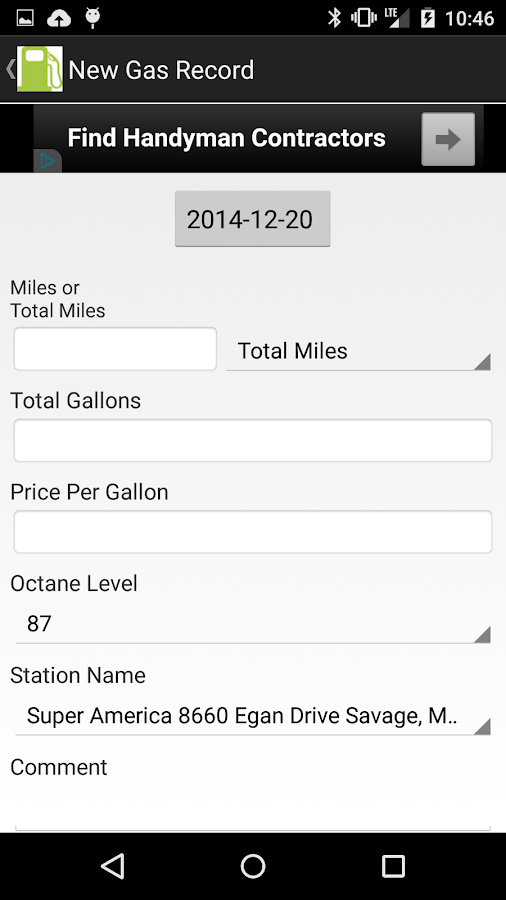 Gas Tracker- screenshot