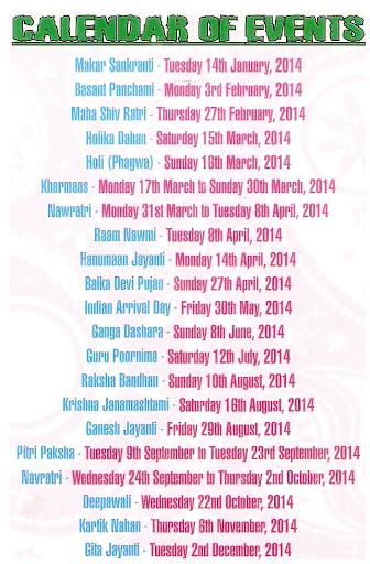 Hindu Festivals Society 2014