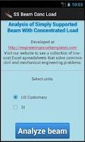 Screenshot of SS Beam Conc Load