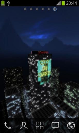 3D夜の街の時計