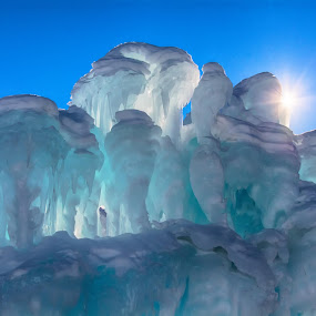 Ice Castles by Heather Diamond - Nature Up Close Water ( sunburst, winter, cold, blue, ice castles, ice, snow, colorado, white, breckenridge, light, sun )