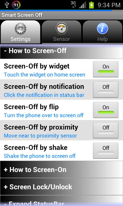 Smart Screen Off (Flip Cover) - screenshot