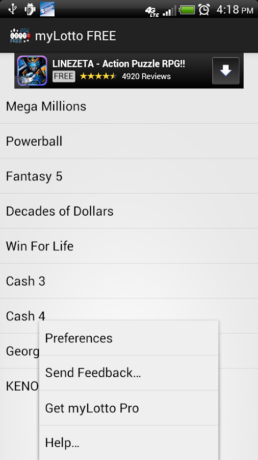 myLotto FREE Lottery QuickPick - screenshot